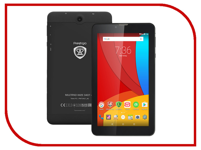 Планшет Prestigio MultiPad PMT3407 4G MediaTek MT8735M 1.3 GHz/1024Mb/8Gb/Wi-Fi/3G/Bluetooth/Cam/7.0/1024x600/Android<br>