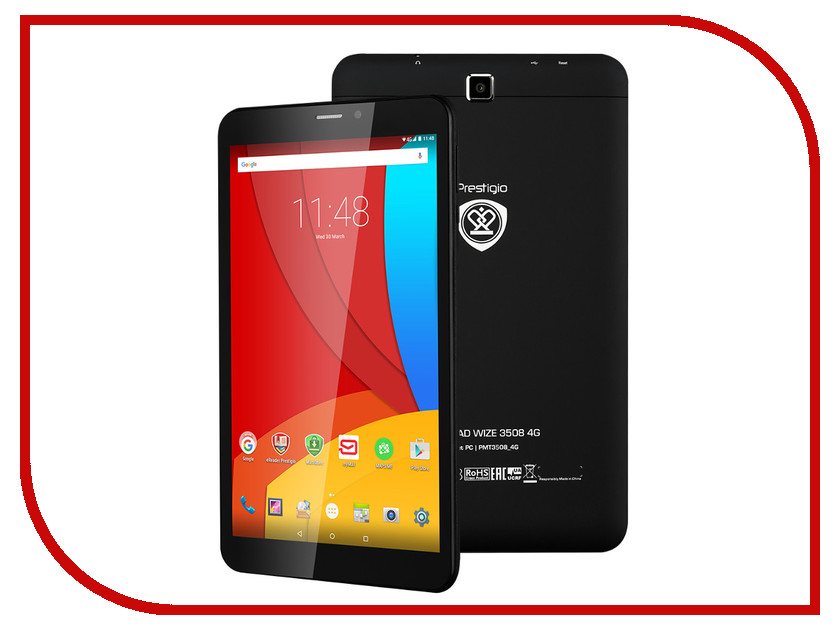 Планшет Prestigio MultiPad PMT3508 4G Black PMT3508_4G_D_BK_CIS (MediaTek MT8735P 1.3 GHz/1024Mb/16Gb/LTE/Wi-Fi/3G/Bluetooth/Cam/8.0/1280x800/Android)<br>