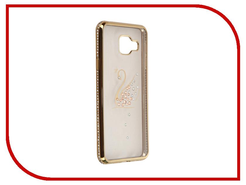 Аксессуар Чехол AUZER for Samsung Galaxy A3 2016 Ultrathin со стразами 0.3mm Лебедь Gold AC-SGA310FBCSGo<br>