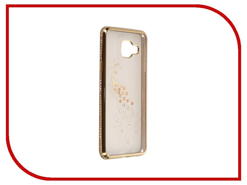Аксессуар Чехол Samsung Galaxy A3 2016 AUZER Ultrathin со стразами 0.3mm Павлин Gold AC-SGA310FBCPGo<br>