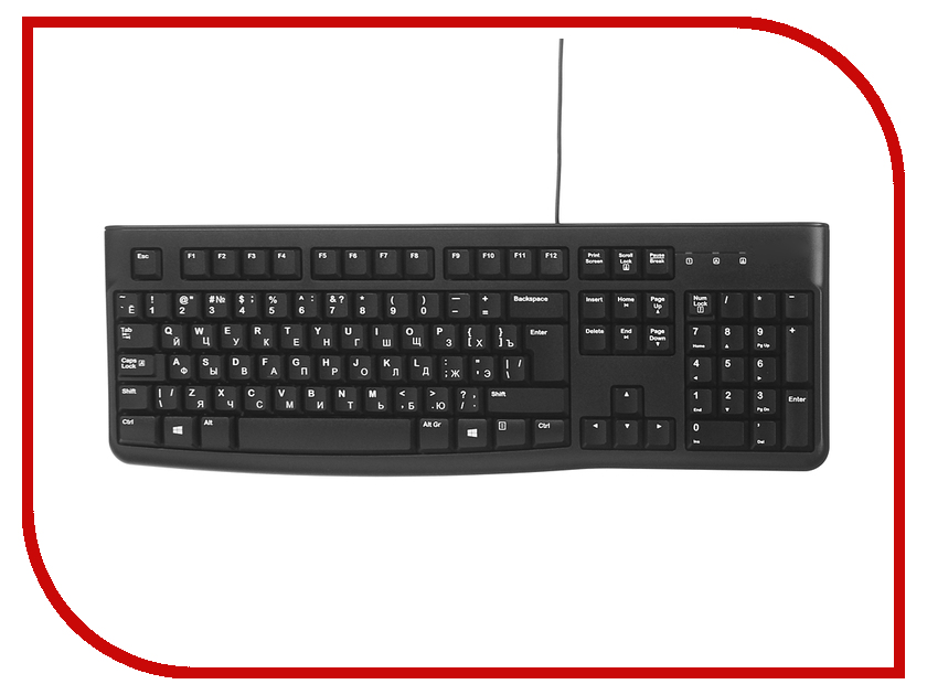 Клавиатура Logitech Keyboard K120 Black USB 920-002522 rii rt503 2 4ghz wireless bt 3 0 backlit touchpad keyboard black