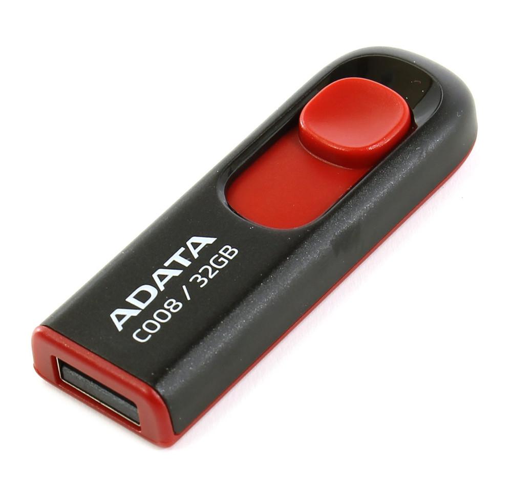 USB Flash Drive 32Gb - A-Data C008 Classic Black-Red AC008-32G-RKD adata classic c008 black 32gb ac008 32g rkd