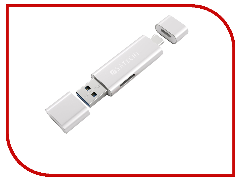 Satechi Aluminum Type-C USB 3.0 and Micro/SD Card Reader Silver B01EU2KRIS / ST-TCCRAS