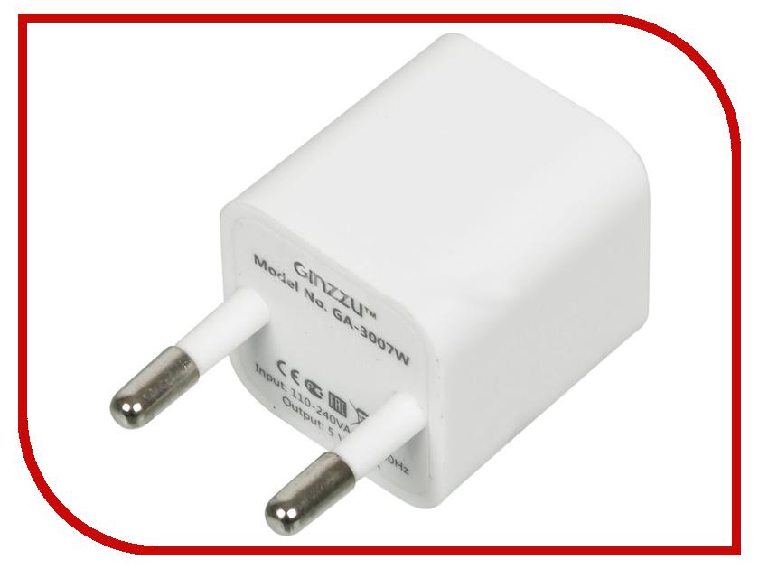 Зарядное устройство Ginzzu GA-3007W USB 1A + кабель 8-pin White<br>