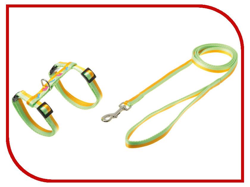 Шлейка V.I.Pet Собачки-косточки Yellow-Green 80-285910