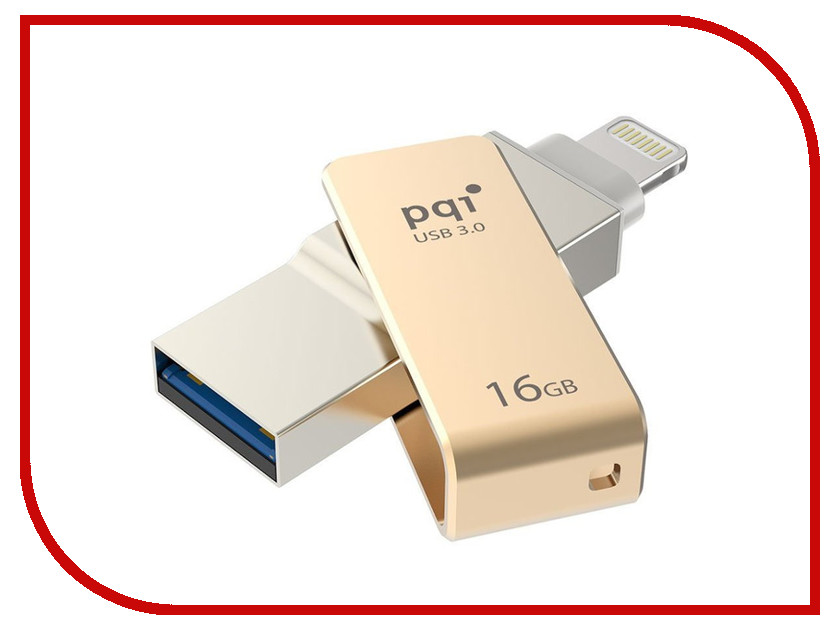 USB Flash Drive 16Gb - PQI iConnect mini Gold 6I04-016GR2001<br>