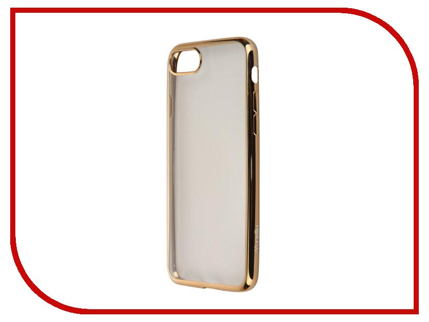 Аксессуар Чехол Celly Laser для APPLE iPhone 7 Transparent-Gold LASER800GD<br>