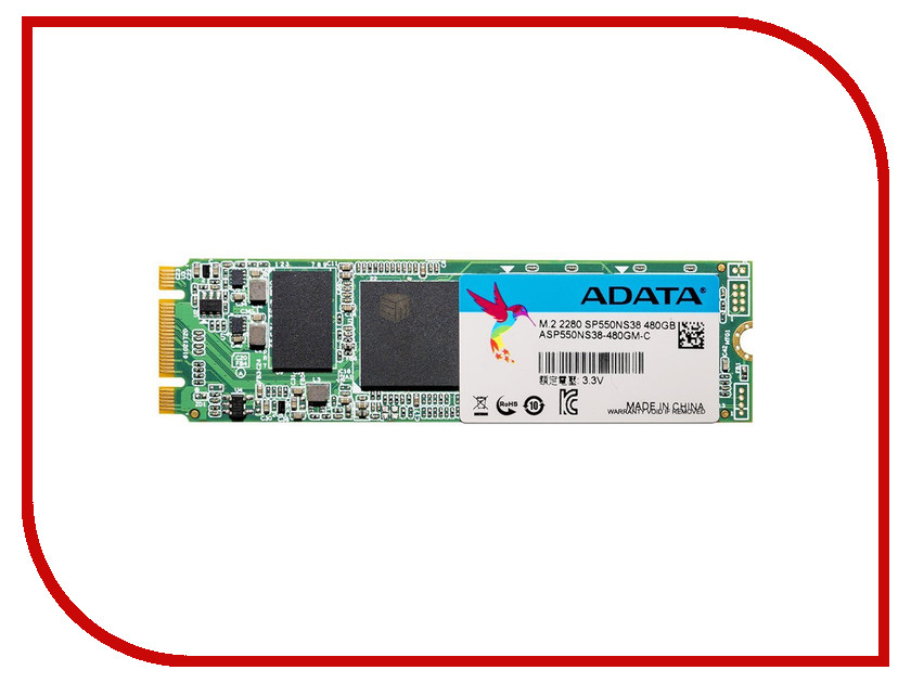 Жесткий диск 480Gb - A-Data Premier SP550 M.2 ASP550NS38-480GM-C<br>