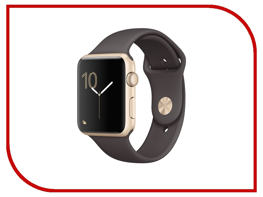 Умные часы APPLE Watch 42mm Gold Aluminium Case with Cocoa Sport Band MNNN2RU/A