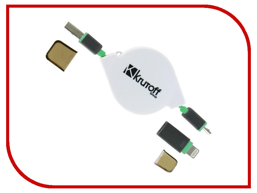 Аксессуар Krutoff USB - MicroUSB + Lightning для iPhone 5/6 Green 14154