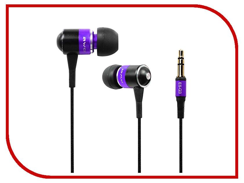 Наушники Awei ES-Q3 Purple<br>