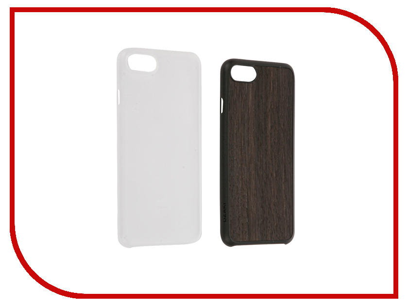 Аксессуар Набор из двух чехлов Ozaki Jelly / Wood для APPLE iPhone 7 Transparent / Dark Brown OC721EC