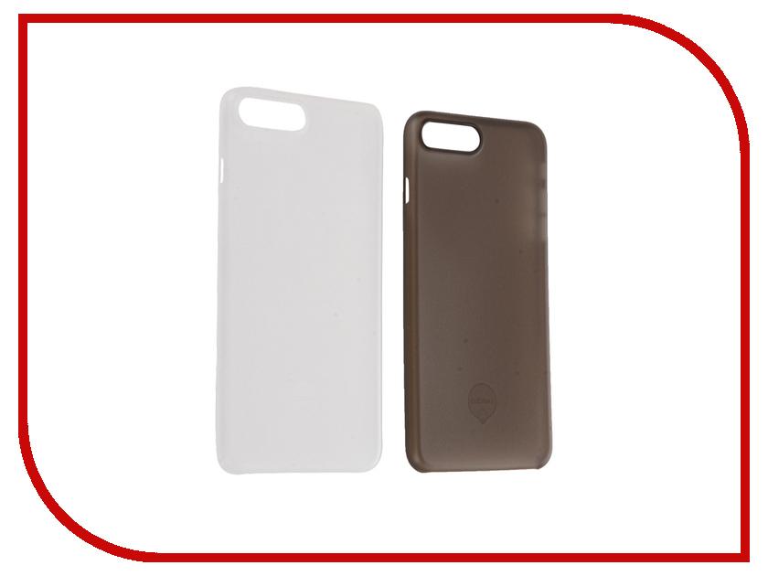 Аксессуар Набор из двух чехлов Ozaki 0.4 Jelly для APPLE iPhone 7 Plus Transparent-Black OC723CK от Pleer
