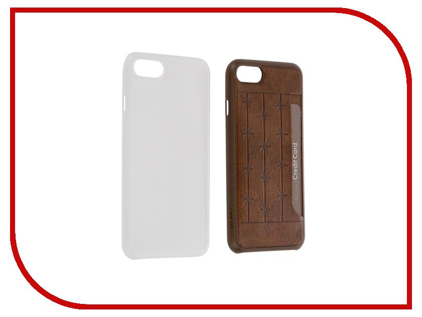Аксессуар Набор из двух чехлов Ozaki Jelly / Pocket для APPLE iPhone 7 Transparent / Brown OC722BC<br>
