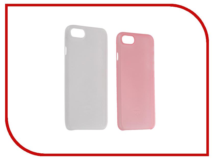 Аксессуар Набор из двух чехлов Ozaki 0.3 Jelly для APPLE iPhone 7 Transparent / Pink OC720CP<br>