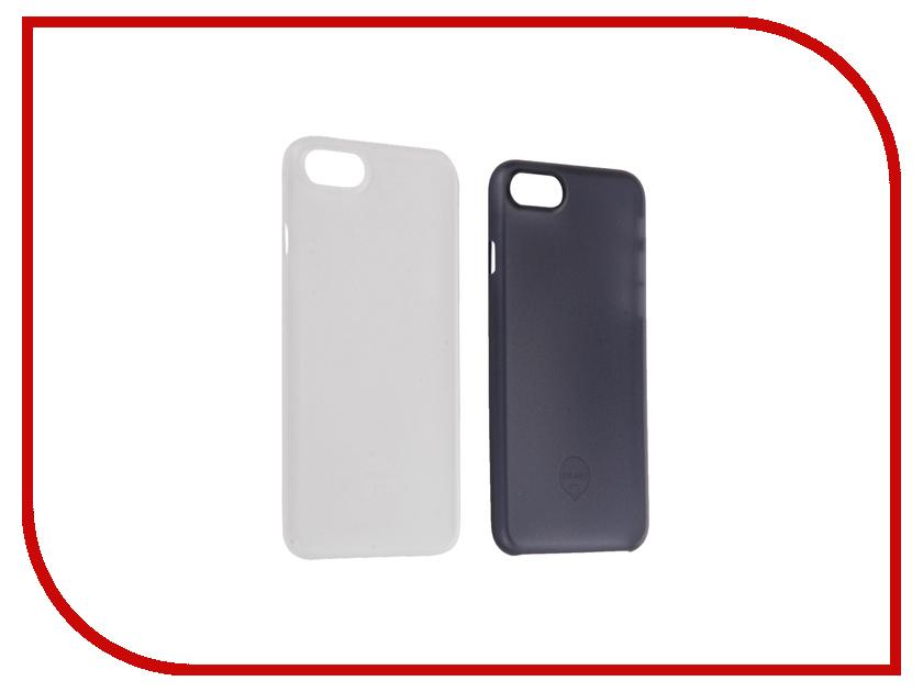 Аксессуар Набор из двух чехлов Ozaki 0.3 Jelly для APPLE iPhone 7 Transparent / Dark Blue OC720CD<br>