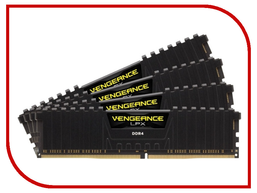 Модуль памяти Corsair Vengeance LPX DDR4 DIMM 2666MHz PC4-21300 CL16 - 64Gb KIT (4x16Gb) CMK64GX4M4A2666C16 модуль памяти corsair vengeance lpx cmk32gx4m4b3733c17r ddr4 4x 8гб 3733 dimm ret