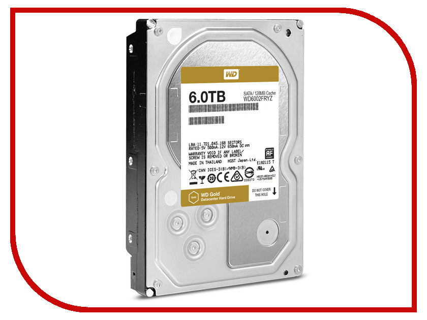 Жесткий диск 6Tb - Western Digital WD Gold WD6002FRYZ жесткий диск 4tb western digital gold wd4002fyyz