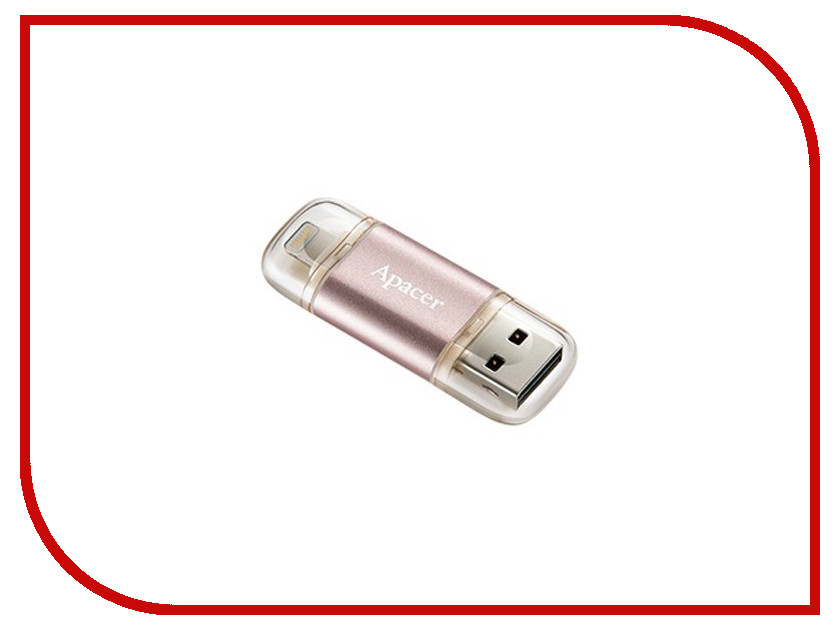 USB Flash Drive 64Gb - Apacer OTG Lightning AH190 Rose Gold AP64GAH190H-1<br>