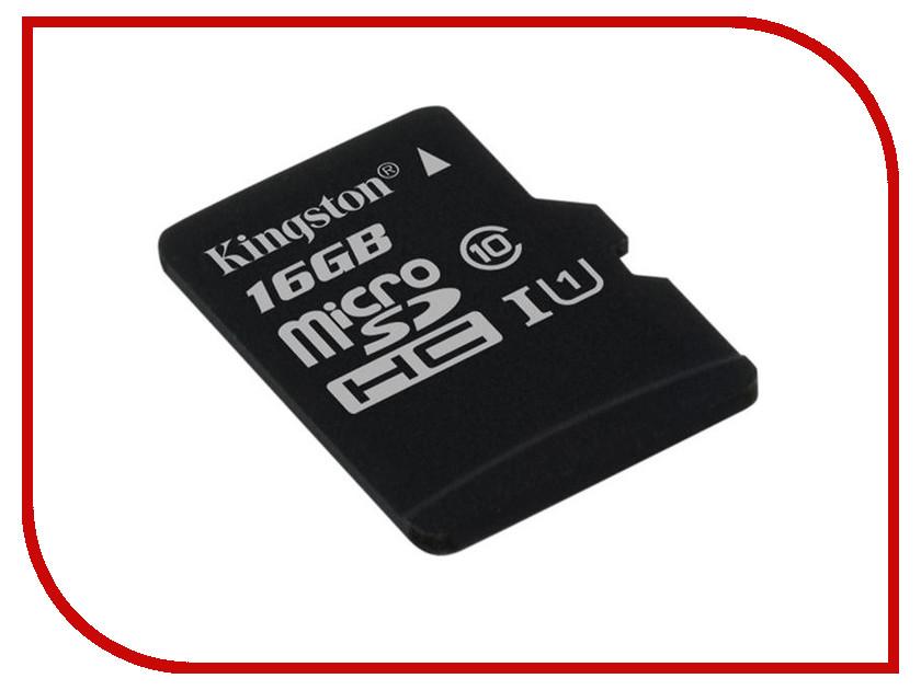 Карта памяти 16Gb - Kingston Micro Secure Digital HC Class 10 UHS-I U1 SDC10G2/16GBSP карта памяти 64gb kingston micro secure digital xc class 10 uhs i sdc10g2 64gb с переходником под sd