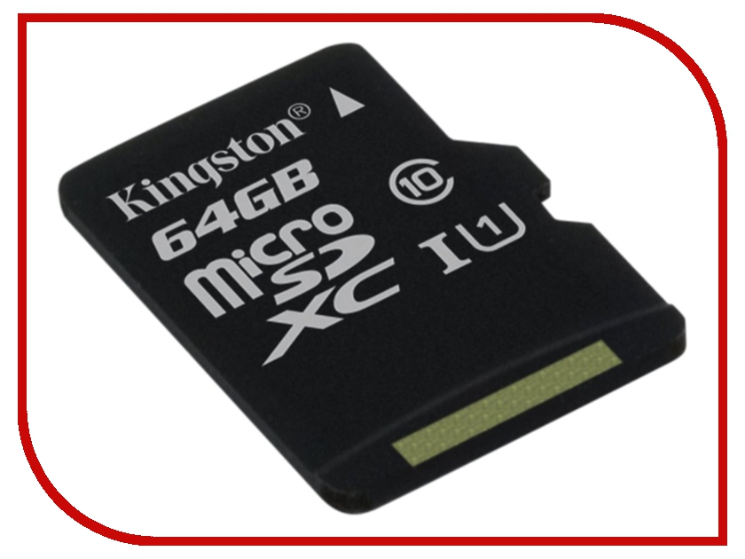 Карта памяти 64Gb - Kingston Micro Secure Digital XC Class 10 UHS-I U1 SDC10G2/64GBSP