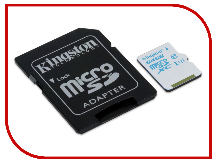 Карта памяти 64Gb - Kingston Micro Secure Digital HC UHS-I U3 SDCAC/64GB с переходником под SD карта памяти 64gb kingston micro secure digital xc class 10 uhs i sdc10g2 64gb с переходником под sd