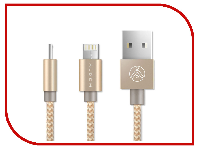 Аксессуар ALDOM Micro USB - Lightning 511ADMNS5013 Gold аксессуар pineng pn 305 usb lightning gold