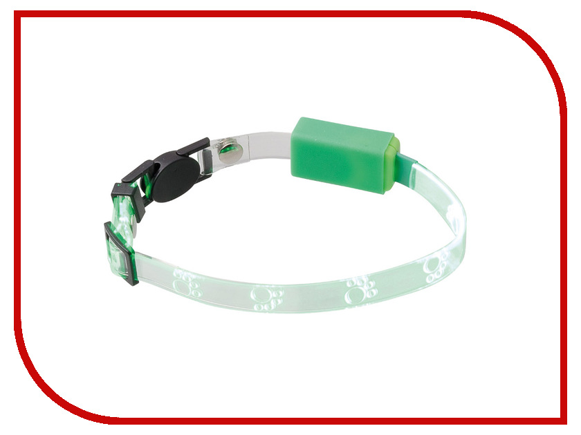 Ошейник светодиодный V.I.Pet Лапки 20-27cm Light Green 14-9001