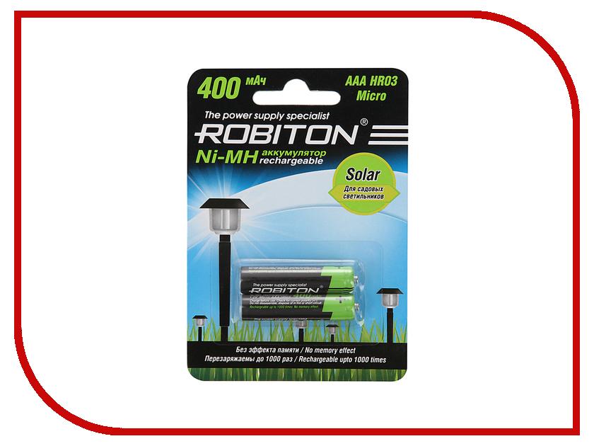 Аккумулятор AAA - Robiton SOLAR 400MHAAA-2 13904 BL2 (2 штуки) аккумулятор aaa robiton 1050 mah rtu1050mh 2 bl2 13117 2 штуки mh1050aaa