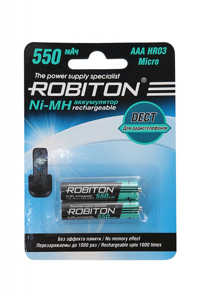 Фото - Аккумулятор AAA - Robiton DECT 550MHAAA-2 13903 BL2 (2 штуки) аккумулятор