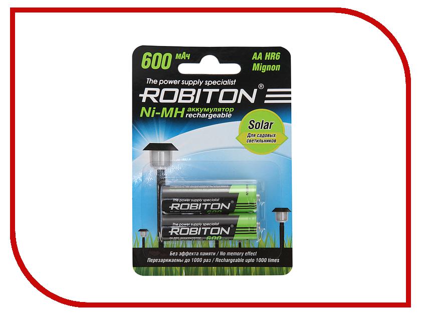 Аккумулятор AA - Robiton SOLAR 600MHAA-2 13905 BL2 (2 штуки) аккумулятор aa robiton 2850 mah ni mh 2 штуки