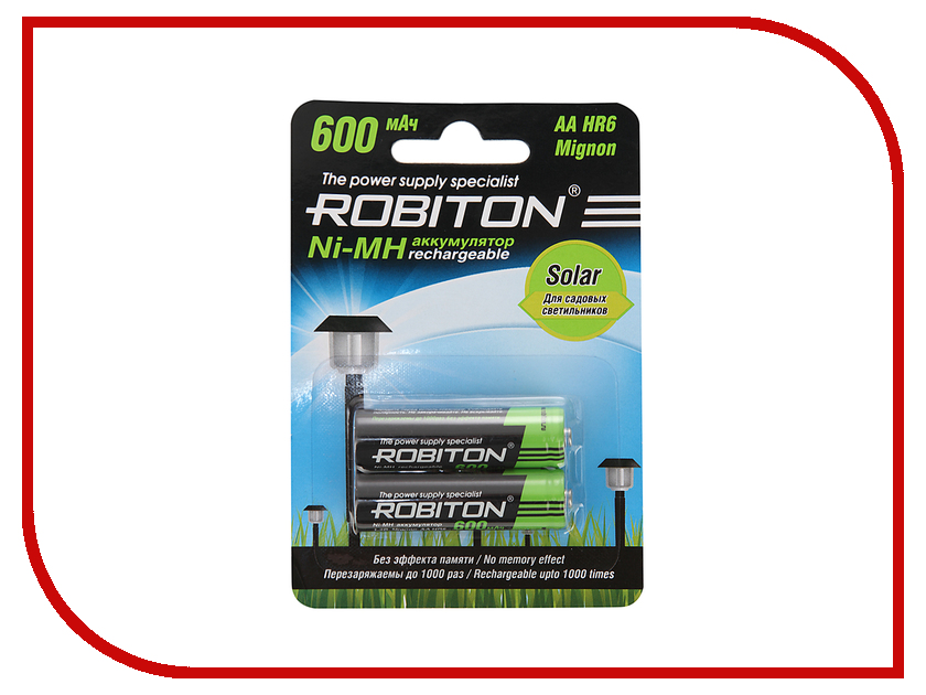 Аккумулятор AA - Robiton SOLAR 600MHAA-2 13905 BL2 (2 штуки) аккумулятор c robiton r14 4500 mah 4500mhc 2 bl2 nimh 2 штуки