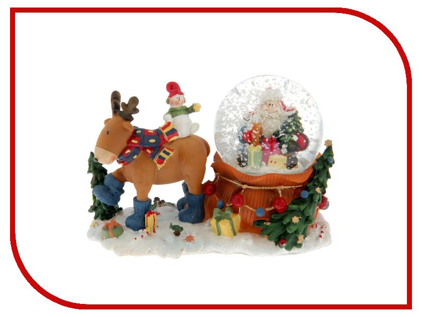 Снежный шар СИМА-ЛЕНД Дед Мороз в ушанке на мешке с оленем 1304740