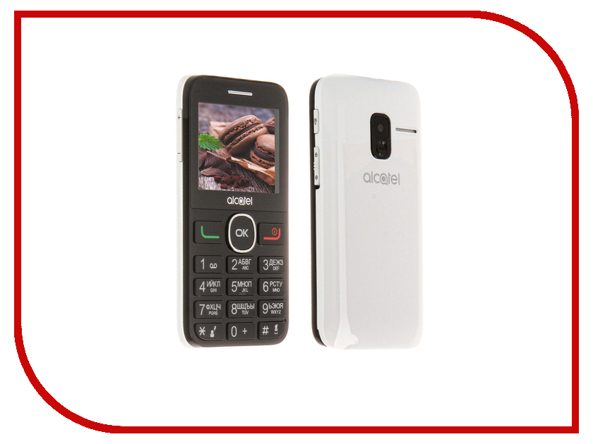 Сотовый телефон Alcatel OneTouch 2008G Black-Pure White мобильный телефон alcatel onetouch 2008g black metal silver