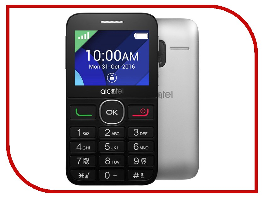 Сотовый телефон Alcatel OneTouch 2008G Black-Metal Silver сотовый телефон alcatel onetouch 5070d pop star soft slate silver gold