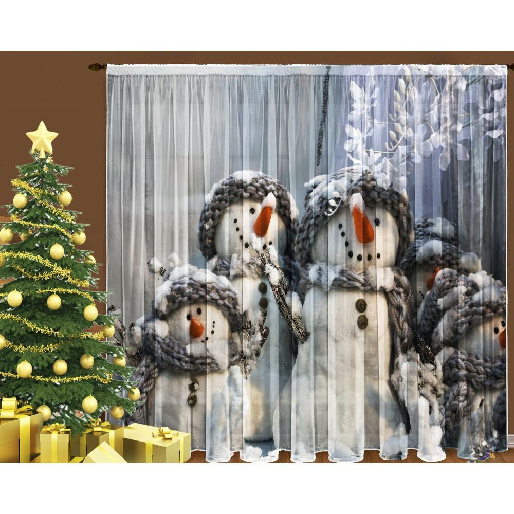 Тюль СИМА-ЛЕНД Семейка снеговиков 145x270cm 1205968