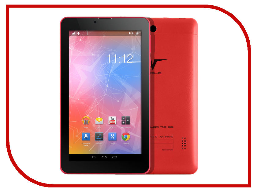 Планшет Tesla Neon Color 7.0 3G Red (Spreadtrum SC7731 1.2 GHz/1024Mb/8Gb/Wi-Fi/3G/Bluetooth/GPS/Cam/7.0/1024x600/Android)<br>