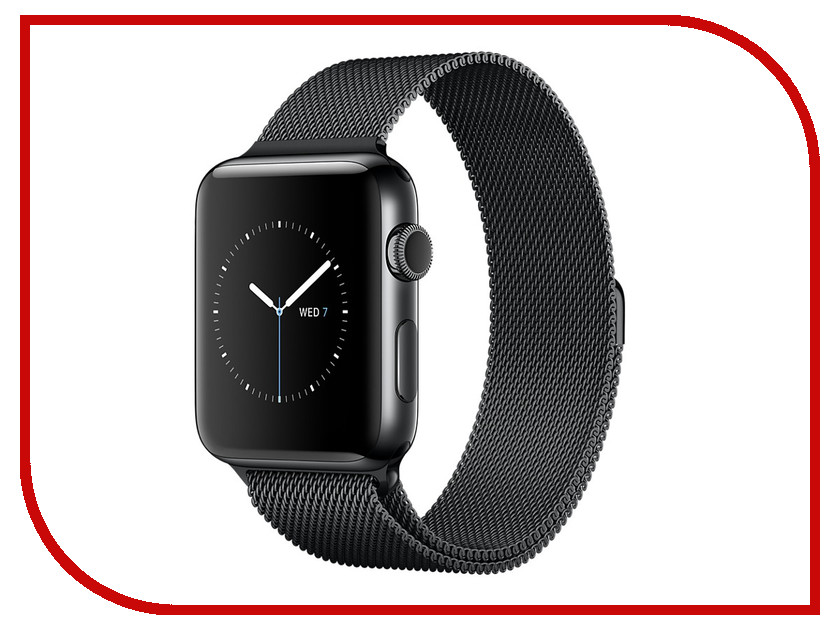 Умные часы APPLE Watch Series 2 38mm Black Space with Milanese Mesh Black Space Band MNPE2RU/A coteetci w6 luxury stainless steel magnetic watchband for apple watch series 1 series 2 38mm gold