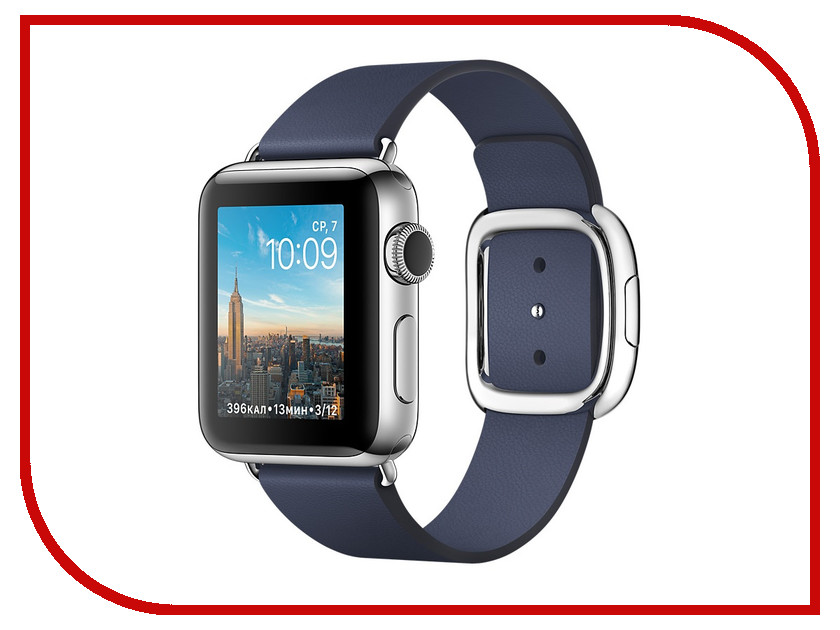 Умные часы APPLE Watch Series 2 38mm with Dark Blue Modern Buckle Band L MNPA2RU/A coteetci w6 luxury stainless steel magnetic watchband for apple watch series 1 series 2 38mm gold