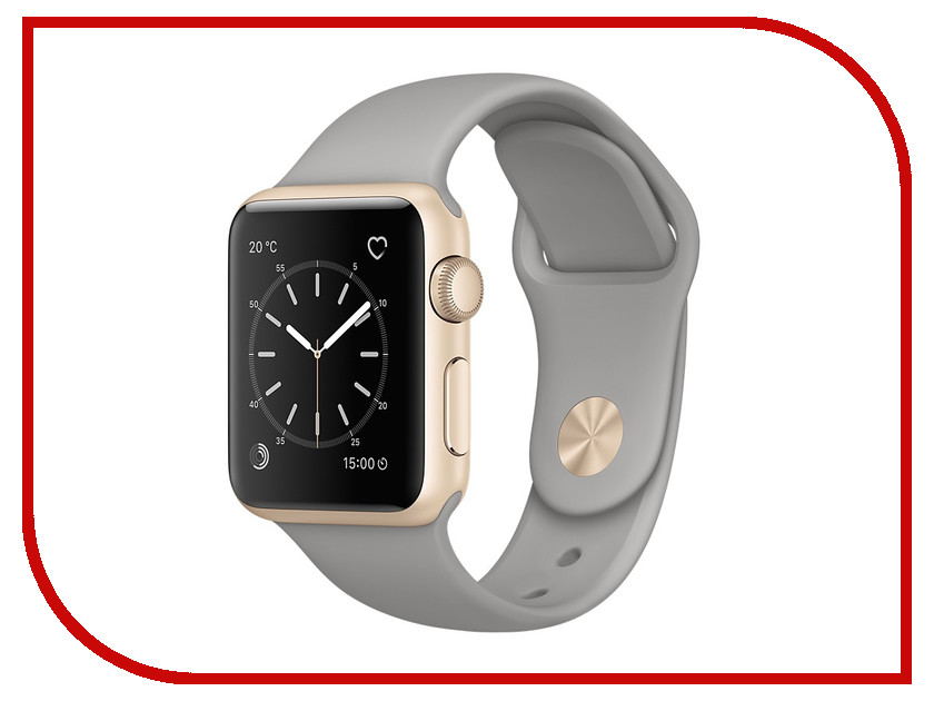 Умные часы APPLE Watch Series 2 38mm Gold with Grey Stone Sport Band MNP22RU/A