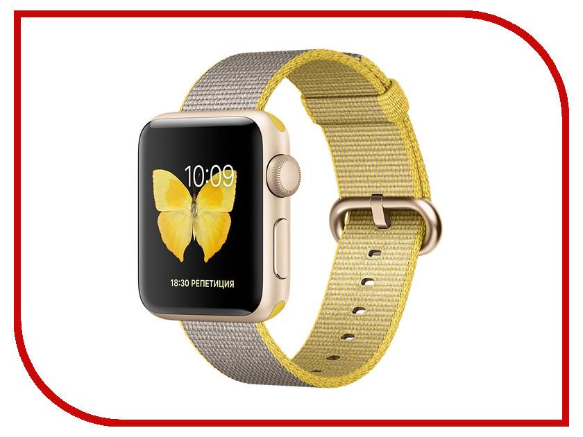 Умные часы APPLE Watch Series 2 38mm Gold with Yellow-Light Grey Woven Nylon Band MNP32RU/A