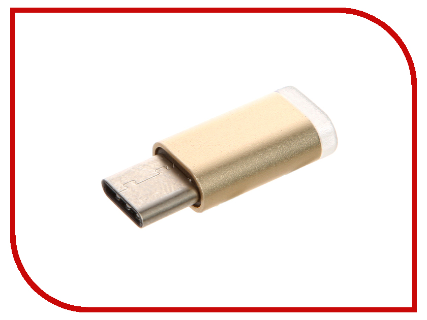 Аксессуар BROSCO MicroUSB - Type-C Adapter Gold ADPT-TYPE-C-MUSB-GOLD<br>