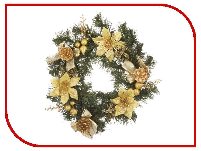 Хвойный декор Lefard Новогодний венок с золотыми пуансетиями 30cm 161-120