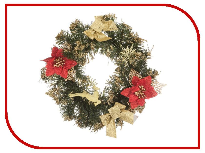Хвойный декор Lefard Новогодний венок с золотыми бантиками 30cm 161-118
