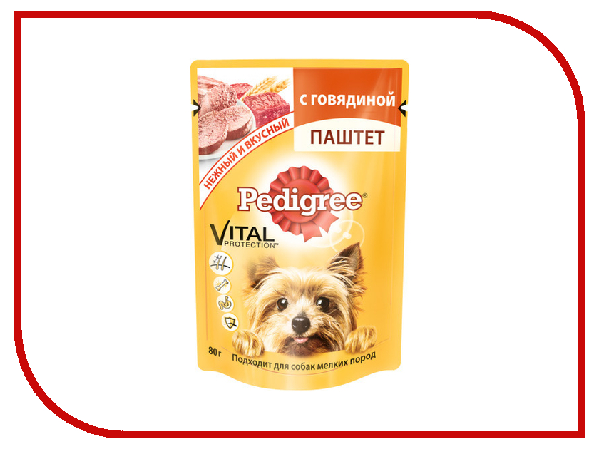 Корм Pedigree Говядина 80g для взрослых собак мелких пород 10131648