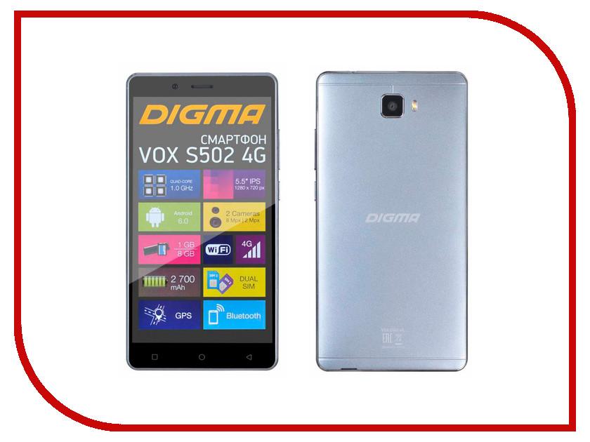 Сотовый телефон Digma VOX S502 4G Grey Titan сотовый телефон digma vox s502 3g grey
