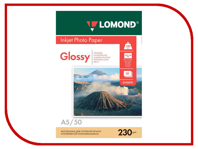 Фотобумага Lomond 0102070 глянцевая 230g/m2 A5 односторонняя 50 листов