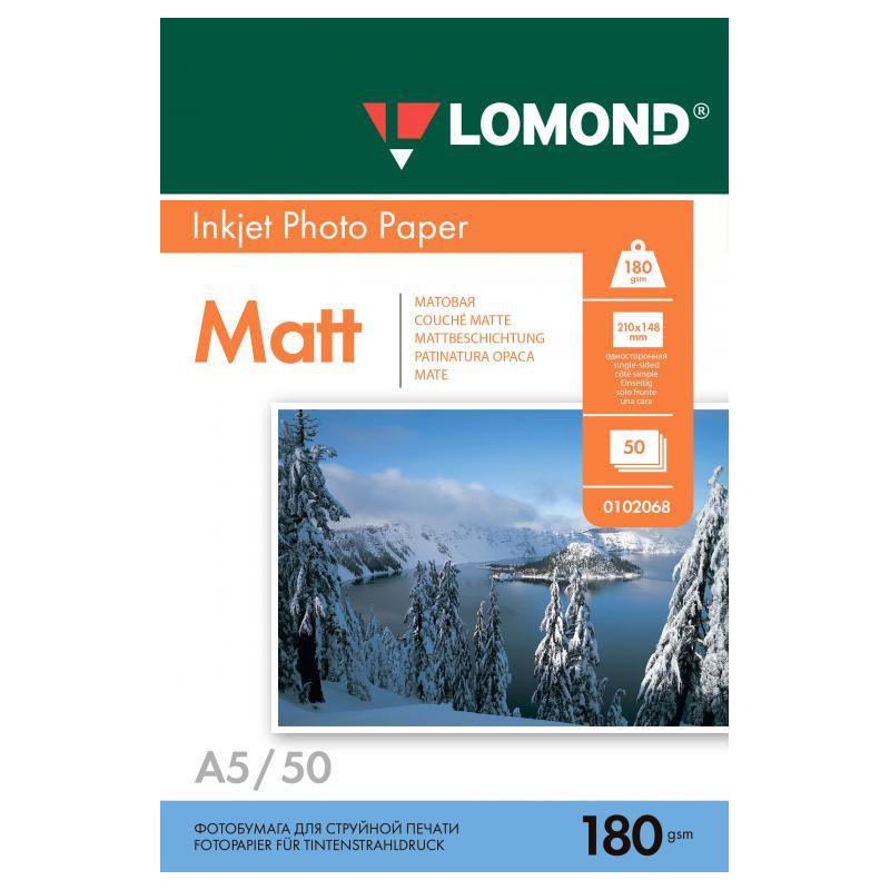 Фотобумага Lomond A5 180g/m2 матовая односторонняя 50 листов 102068