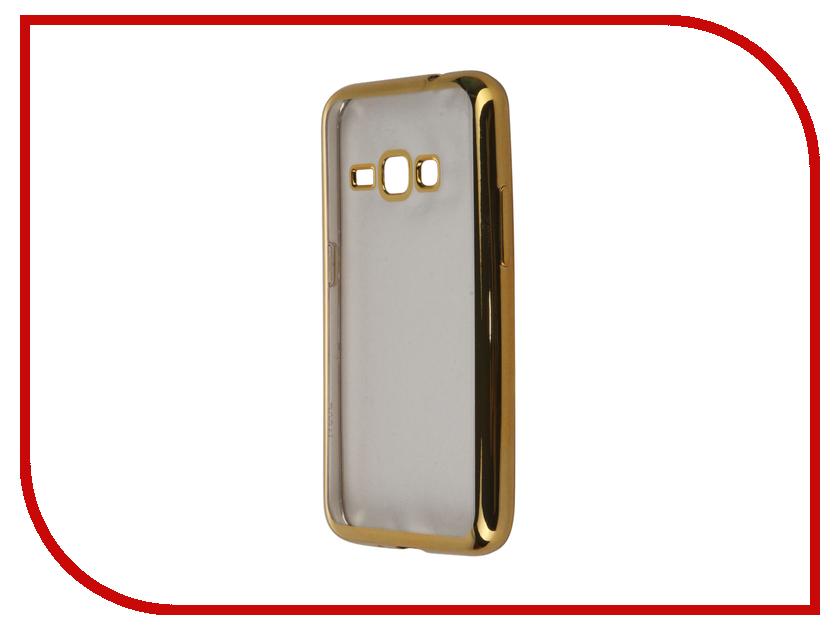 Аксессуар Чехол-накладка Samsung Galaxy J1 (2016) SkinBox Silicone Chrome Border 4People Gold T-S-SGJ12016-008<br>