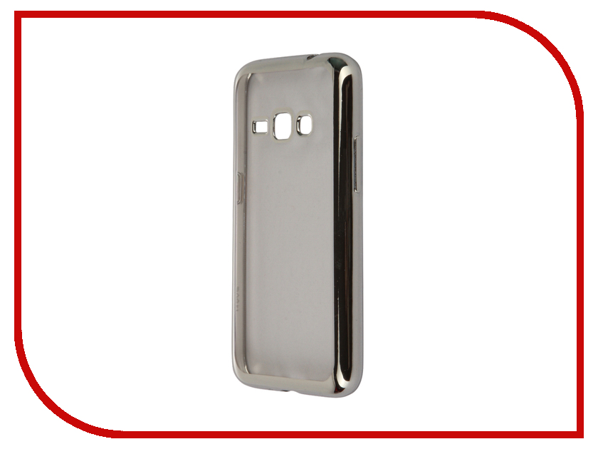 Аксессуар Чехол-накладка Samsung Galaxy J1 (2016) SkinBox Silicone Chrome Border 4People Silver T-S-SGJ12016-008<br>